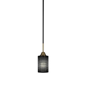 Paramount Matte Black and Brass 11-Inch One-Light Mini Pendant with Black Matrix Shade