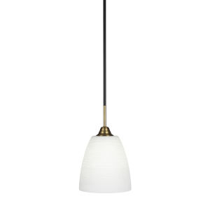 Paramount Matte Black and Brass Eight-Inch One-Light Mini Pendant with White Matrix Shade