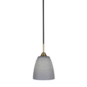 Paramount Matte Black and Brass Eight-Inch One-Light Mini Pendant with Gray Matrix Shade