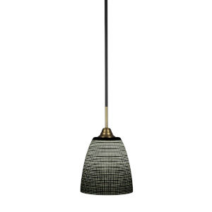 Paramount Matte Black and Brass Eight-Inch One-Light Mini Pendant with Black Matrix Shade