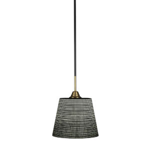 Paramount Matte Black and Brass 10-Inch One-Light Pendant with Black Matrix Shade