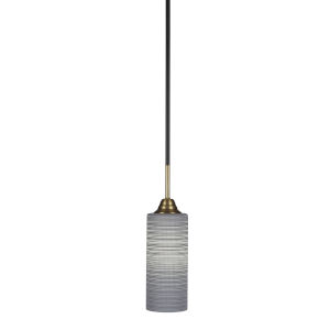 Paramount Matte Black and Brass 14-Inch One-Light Mini Pendant with Gray Matrix Shade