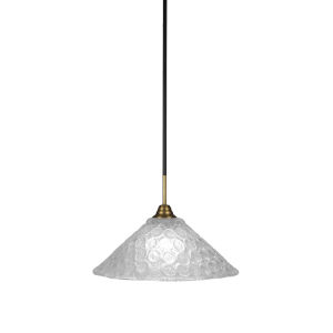 Paramount Matte Black and Brass 16-Inch One-Light Pendant with Italian Bubble Shade