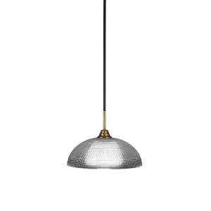 Paramount Matte Black and Brass 13-Inch One-Light Pendant with Clear Ribbed Shade