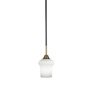 Paramount Matte Black and Brass Six-Inch One-Light Mini Pendant with Zilo White Linen Shade