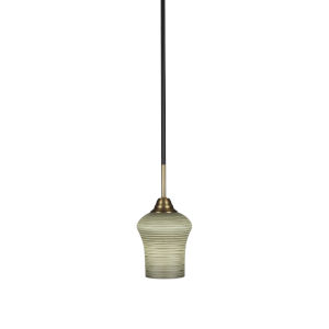 Paramount Matte Black and Brass Six-Inch One-Light Mini Pendant with Zilo Gray Linen Shade