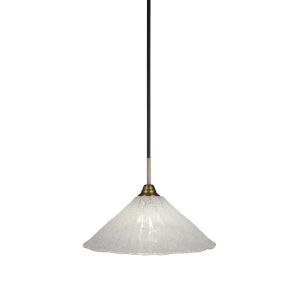 Paramount Matte Black and Brass 16-Inch One-Light Pendant with Italian Ice Shade