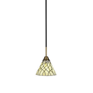 Paramount Matte Black and Brass Seven-Inch One-Light Mini Pendant with Sandhill Art Glass Shade