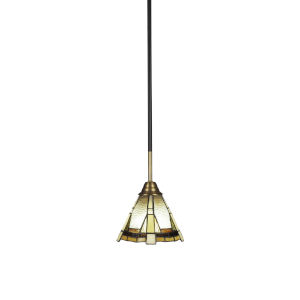 Paramount Matte Black and Brass Seven-Inch One-Light Mini Pendant with Zion Art Glass Shade