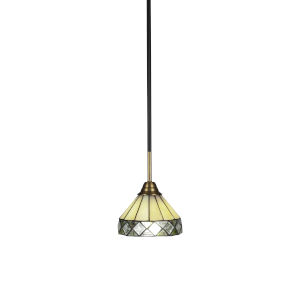 Paramount Matte Black and Brass Seven-Inch One-Light Mini Pendant with Diamond Peak Art Glass Shade