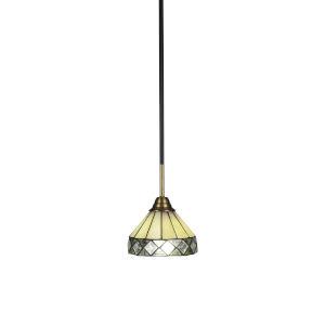 Paramount Matte Black and Brass Seven-Inch One-Light Mini Pendant with Diamond Peak Art Glass Shade
