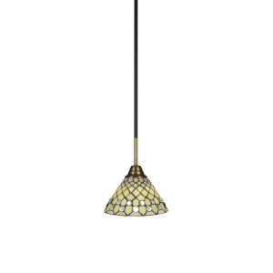 Paramount Matte Black and Brass Seven-Inch One-Light Mini Pendant with Starlight Art Glass Shade