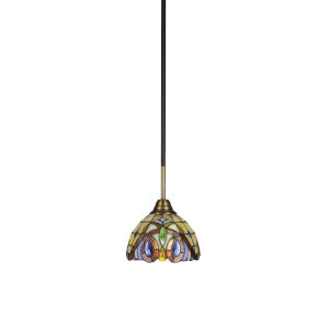 Paramount Matte Black and Brass Seven-Inch One-Light Mini Pendant with Lynx Art Glass Shade