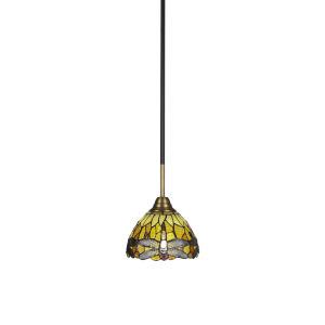 Paramount Matte Black and Brass Seven-Inch One-Light Mini Pendant with Amber Dragonfly Art Glass Shade