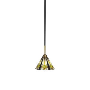 Paramount Matte Black and Brass Seven-Inch One-Light Mini Pendant with Hampton Art Glass Shade