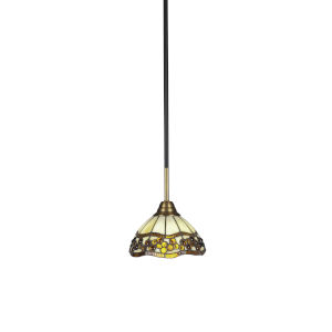 Paramount Matte Black and Brass Eight-Inch One-Light Mini Pendant with Roman Jewel Art Glass Shade