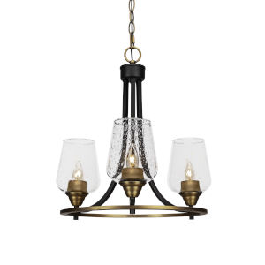 Paramount Matte Black and Brass 16-Inch Three-Light Chandelier