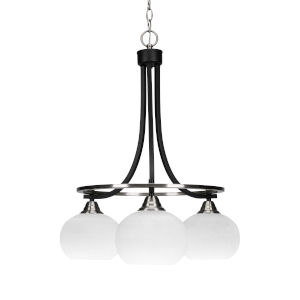 Paramount Matte Black and Brushed Nickel 19-Inch Three-Light Chandelier