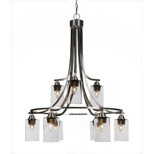 Paramount Brushed Nickel Nine-Light 29-Inch Chandelier with Clear Bubble Glass