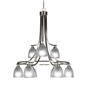 Paramount Brushed Nickel Nine-Light 30-Inch Chandelier with Clear Ribbed Glass