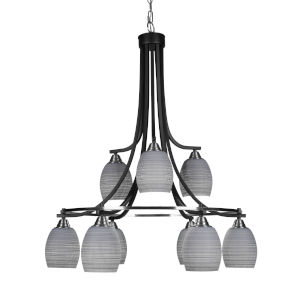 Paramount Matte Black and Brushed Nickel Nine-Light 30-Inch Chandelier with Gray Matrix Glass