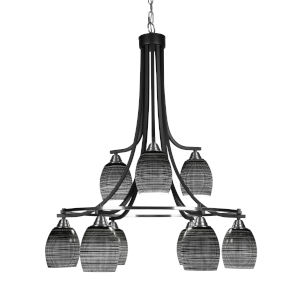Paramount Matte Black and Brushed Nickel Nine-Light 30-Inch Chandelier with Black Matric Glass