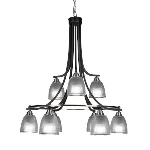 Paramount Matte Black and Brushed Nickel Nine-Light 30-Inch Chandelier with Clear Ribbed Glass