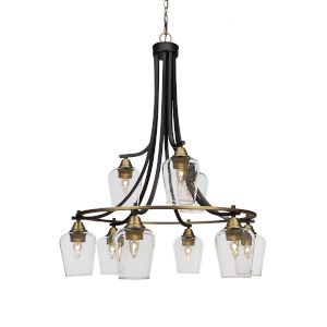 Paramount Matte Black and Brass 30-Inch Nine-Light Chandelier
