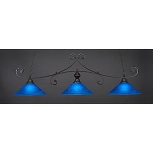 Curl Dark Granite 16-Inch Three-Light Island Pendant with Blue Italian Glass