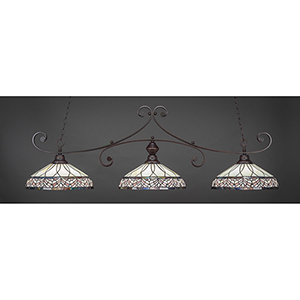 Curl Dark Granite 16-Inch Three-Light Island Pendant with Royal Merlot Tiffany Glass
