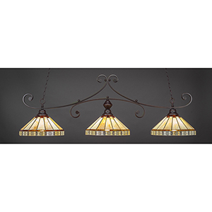 Curl Dark Granite 15-Inch Three-Light Island Pendant with Honey and Brown Mission Tiffany Glass