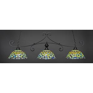 Curl Matte Black 16-Inch Three-Light Island Pendant with Crescent Tiffany Glass