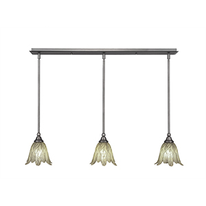 Any Brushed Nickel 38-Inch Three-Light Pendant with Vanilla Leaf Glass