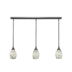 Any Brushed Nickel 37-Inch Three-Light Pendant with Natural Fusion Glass