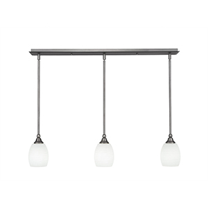 Any Brushed Nickel 38-Inch Three-Light Pendant with White Linen Glass