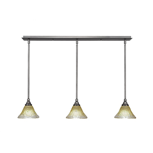 Any Brushed Nickel 39-Inch Three-Light Pendant with Fluted Amber Crystal Glass