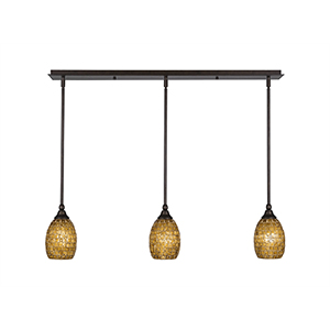 Any Bronze 38-Inch Three-Light Pendant with Copper Mosaic Glass