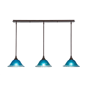Any Bronze 10-Inch Three-Light Pendant with Teal Crystal Glass