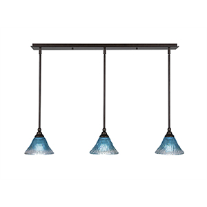 Any Bronze 39-Inch Three-Light Pendant with Teal Crystal Glass