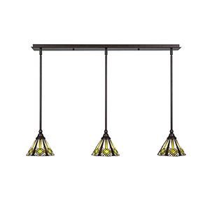 Any Bronze 38-Inch Three-Light Pendant with Hampton Tiffany Glass