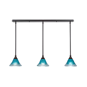 Any Dark Granite 39-Inch Three-Light Pendant with Teal Crystal Glass