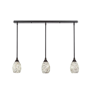 Any Dark Granite 37-Inch Three-Light Pendant with Natural Fusion Glass