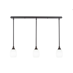 Any Dark Granite 38-Inch Three-Light Pendant with White Linen Glass