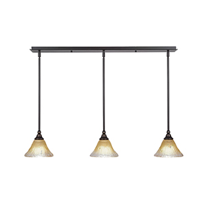Any Dark Granite 39-Inch Three-Light Pendant with Amber Crystal Glass