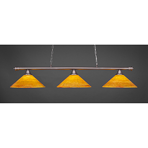 Oxford Brushed Nickel 16-Inch Three-Light Island Pendant with Firré Saturn Glass