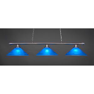 Oxford Brushed Nickel 16-Inch Three-Light Island Pendant with Blue Italian Glass