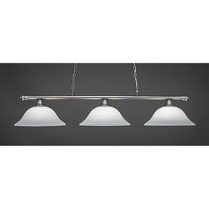 Oxford Brushed Nickel 16-Inch Three-Light Island Pendant with White Linen Glass