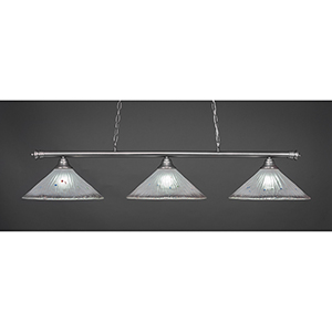 Oxford Brushed Nickel 16-Inch Three-Light Island Pendant with Frosted Crystal Glass