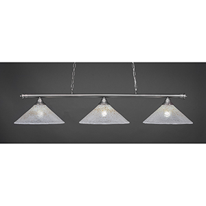Oxford Brushed Nickel 16-Inch Three-Light Island Pendant with Gold Ice Glass