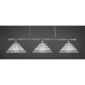 Oxford Brushed Nickel 16-Inch Three-Light Island Pendant with Pewter Tiffany Glass